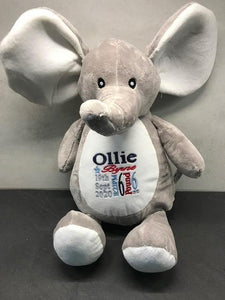 Personalised Birth Elephant with a gift  bag