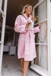 Luxurious Soft fluffy  Robe Hamper & long satin pyjamas with prosecco in a gift box