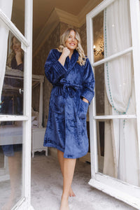 Fluffy navy personalised robes -Robes4you