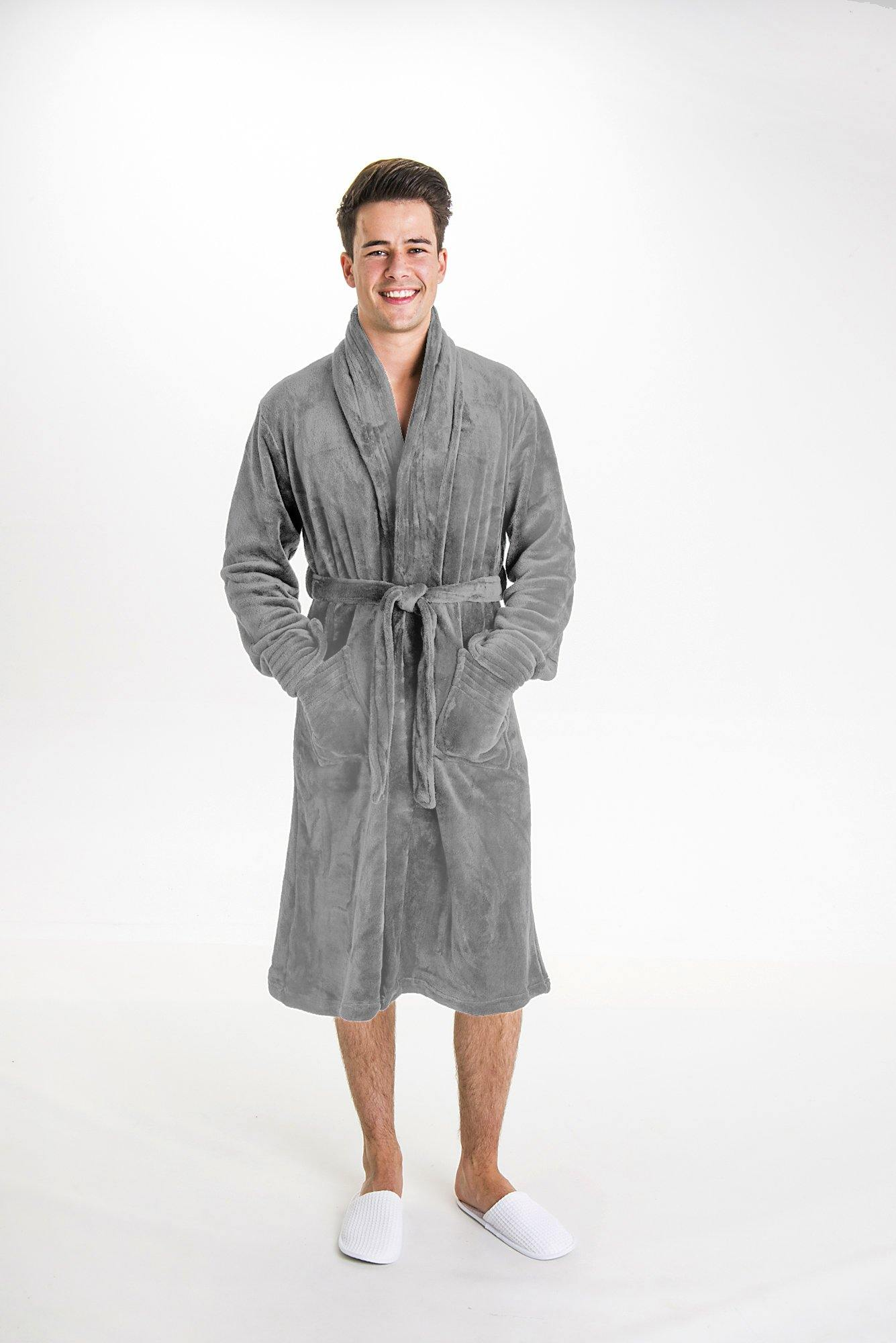 Luxurious Fluffy Grey Mens Robe - Robes 4 You
