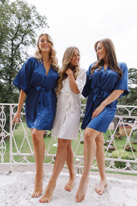Navy bridesmaid silk robes -Robes4you
