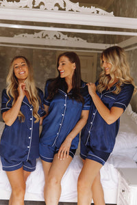 Personalised navy short silk pjs -Robes4you