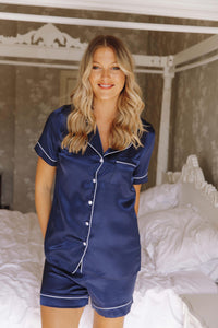 Navy short silk pjs -Robes4you