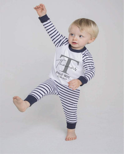 PERSONALISED PAGE BOY PYJAMAS Wedding Gift Blue and White PJs Silver Glitter