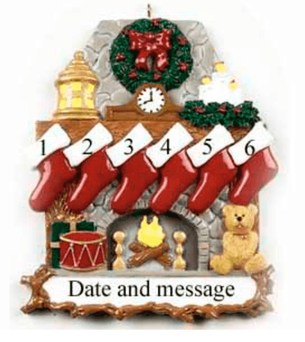 Personalised christmas decoration - stockings on a mantle piece