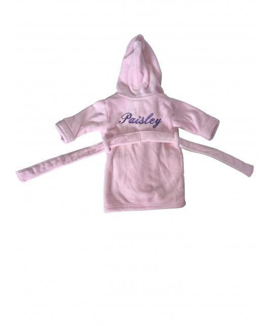 Childrens Personalised Baby Pink hooded Robe - Robes 4 You