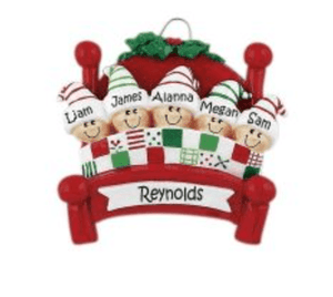 Personalised Family of 5 Christmas Decoration - Bed - Robes 4 You