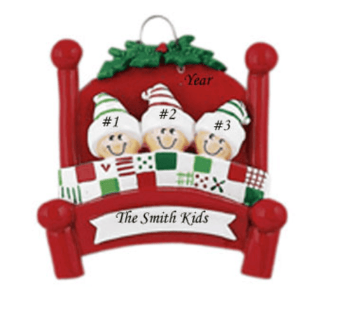 Personalised Christmas Decoration - Family of 3- Bedhead - Robes 4 You