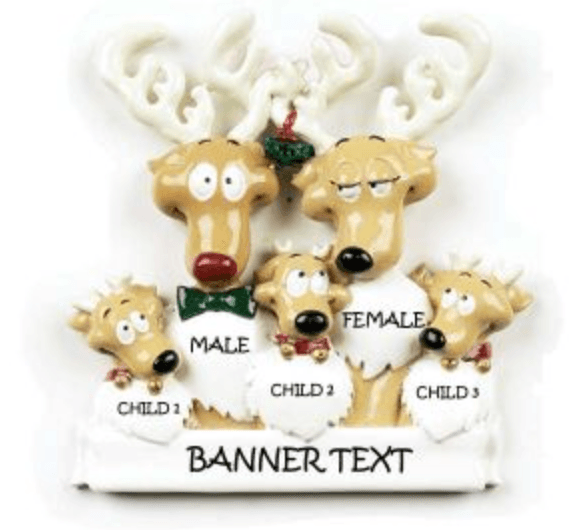 Personalised Christmas Decoration- Family of 5 -Reindeers - Robes 4 You
