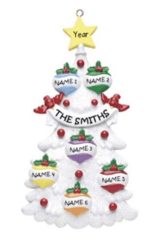 Personalised christmas decoration - Family of 6- christmas tree