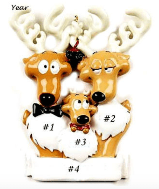 Personalised Reindeer Christmas Decoration -Family of 3 - Robes 4 You