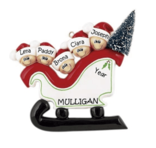 Personalised Family Decoration- Family of 5 - Sleigh - Robes 4 You