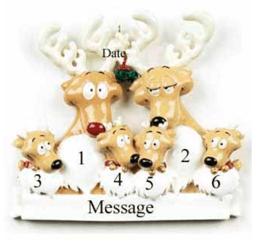 Personalised christmas decoration-family of 6- reindeers