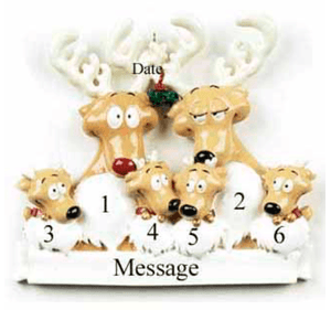 Personalised Christmas Decoration- Family of 6 -Reindeers - Robes 4 You