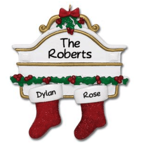 Personalised Christmas Decoration- 2 stockings on a Mantle piece - Robes 4 You