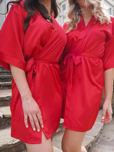 Red silk dressing gown - Robes4you