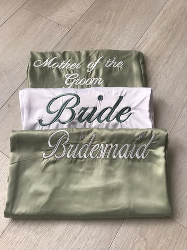 White satin & Sage green embroidered Satin Robes