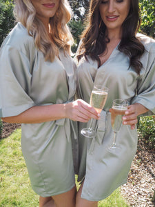 Sage green personalised silk robe - Robes4you