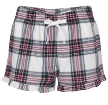 Load image into Gallery viewer, Bridal pyjamas - Pink and blue plaid shorts with a personalised  T-shirt - Robes 4 You