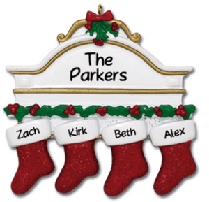 Personalised Christmas Decoration - Family of 4 - Christmas Stockings - Robes 4 You