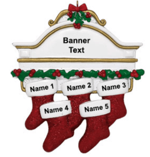 Personalised Family of 5 Christmas Decoration - Stockings on a Mantle Piece - Robes 4 You