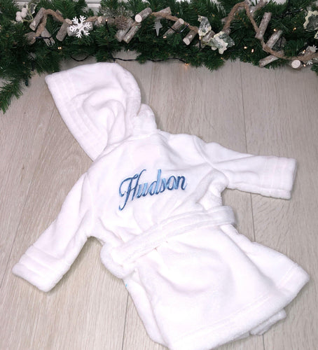 Boys Fluffy White Christmas Robes - Robes 4 You