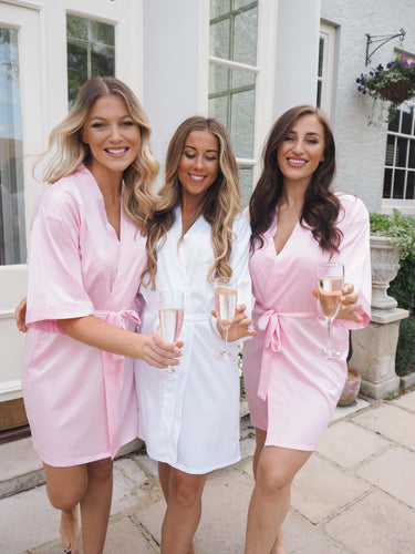Baby pink satin robes -Robes4you