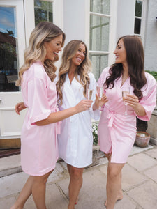 Baby pink silk bridesmaid robes -Robes4you