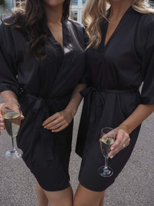 Black satin robes -Robes4you