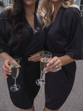 Load image into Gallery viewer, Black personalised satin robe -Robes4you