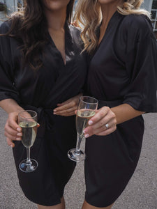 Black personalised satin robe -Robes4you