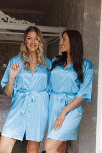 Blue bridesmaid silk dressing gowns -Robes4you
