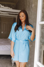 Load image into Gallery viewer, blue personalised satin robe -Robes4you