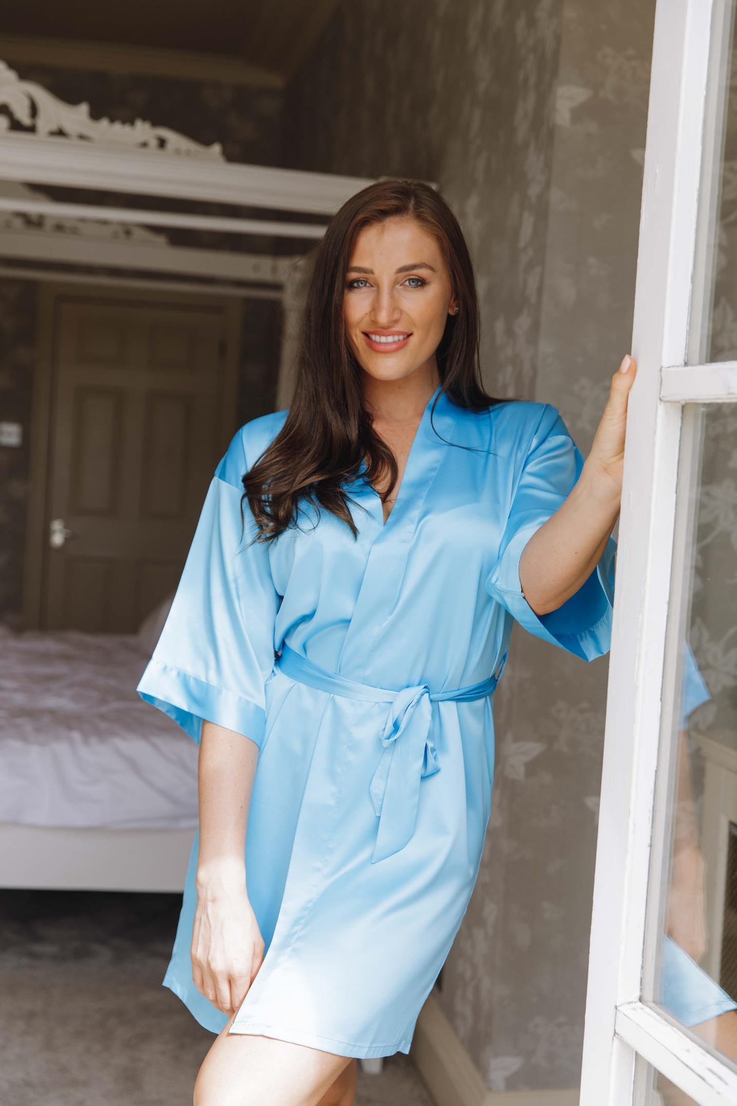 Blue silk robe-Robes4you