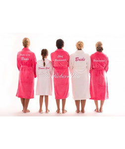 Luxury White & Cerise Pink Soft Robes - Robes 4 You