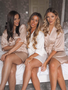 Bridal robes- Champagne and Ivory satin Robes