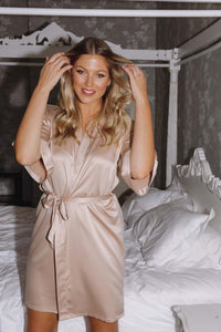 Personalised champagne silk robe -Robes4you