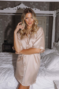 Champagne satin robes -Robes4you