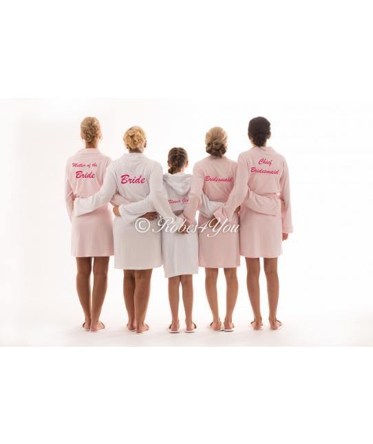 Cotton White & Pink Bridal Robes - Robes 4 You