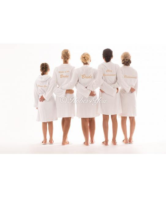 White cotton bridal robes embroidered in gold. - Robes 4 You
