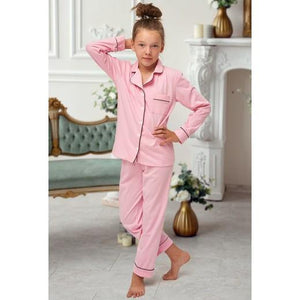 Pink Cotton Childrens Pyjamas with piping