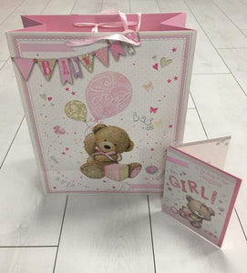 Baby girl gift - Large Teddy with personalised detachable comforter - Robes 4 You