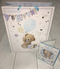 Load image into Gallery viewer, Baby boy gift - large teddy with personalised detachable comforter - Robes 4 You