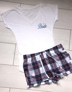 Bridal pyjamas - Pink and blue plaid shorts with a personalised  T-shirt - Robes 4 You