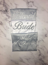 Load image into Gallery viewer, Personalised Bridal robes- Grey and white embroidered satin robes - Robes 4 You