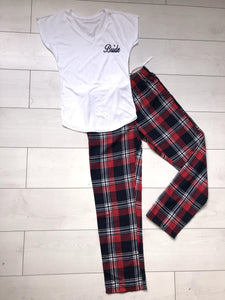 Bridal pyjamas- personalised red and navy cotton pyjamas - Robes 4 You