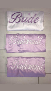 Personalised bridal robes - Lilac and white satin robes - Robes 4 You