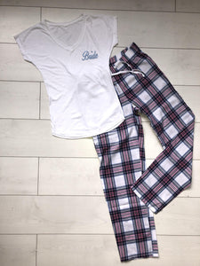 Bridal Pyjamas- personalised blue and pink checkered pjs - Robes 4 You