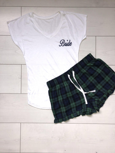 Bridal Pyjamas- personalised cotton pajamas with navy and green checkered shorts - Robes 4 You