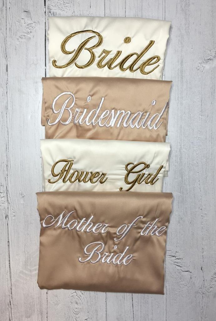 Bridal robes- Champagne and Ivory satin embroidered dressing gowns - Robes 4 You